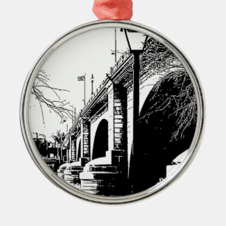 Antique Bridge in Pen and Ink Silver-Colored Round Decoration