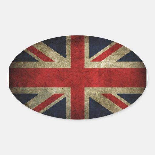 Antique British Union Jack Flag UK Oval Sticker
