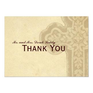 Antique Brown Celtic Cross Thank You 11 Cm X 16 Cm Invitation Card