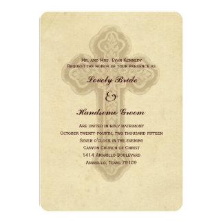 Antique Brown Cross Christian Wedding Invitation