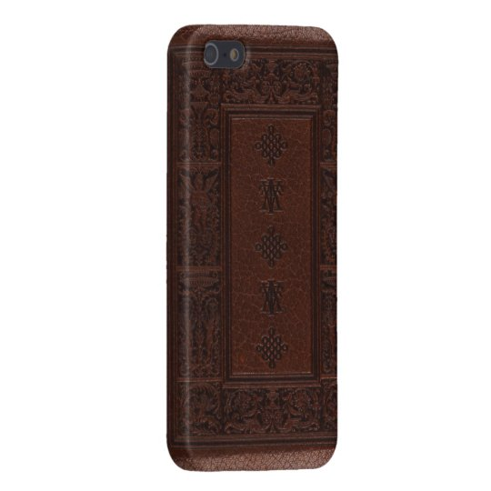 Antique Brown Leather Embossed Book Design iPhone 5 Covers