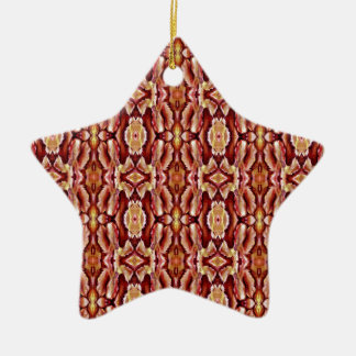 Antique Brown Sepia Lace Pattern Double-Sided Star Ceramic Christmas Ornament