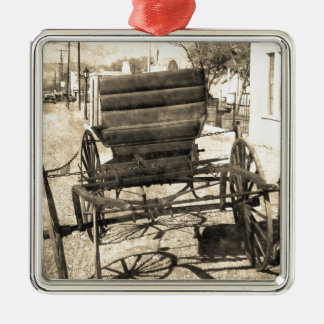 Antique Buggy Silver-Colored Square Decoration