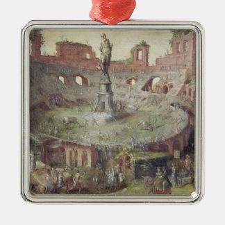 Antique Bullfighting, 1552 Silver-Colored Square Decoration