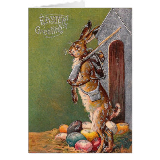 Antique Bunny Guard Victorian Easter Card