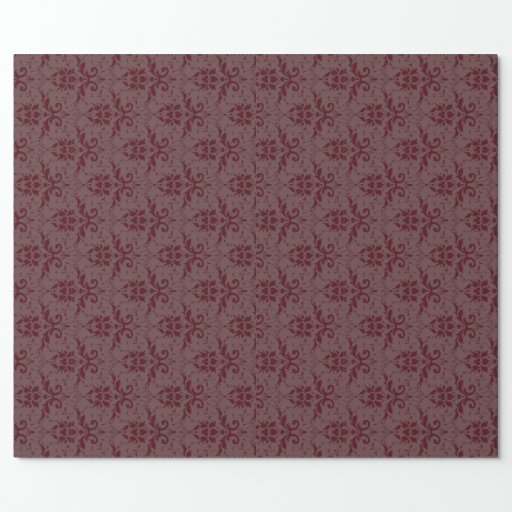 Antique Burgundy Damask Wrapping Paper