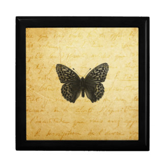 Antique Butterfly Art Large Square Gift Box