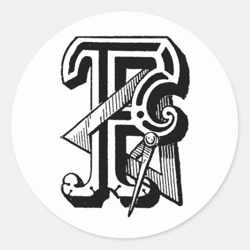 Antique calligraphy masonic symbols letter f sticker zazzle