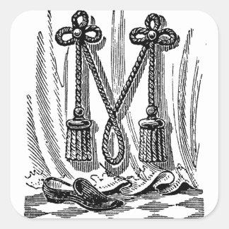 Antique Calligraphy Masonic Symbols Letter M Square Sticker