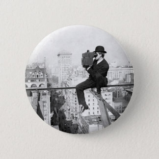 antique camera on a city highrise vintage photo 6 cm round badge