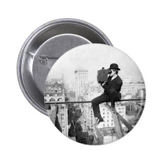 antique camera on a city highrise vintage photo 6 cm round badge