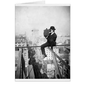 antique camera on a city highrise vintage photo greeting card