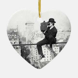 antique camera on a city highrise vintage photo ceramic heart decoration