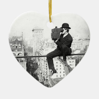 antique camera on a city highrise vintage photo ceramic heart decoration
