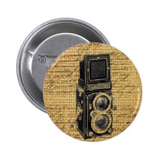 antique camera on burlap background 6 cm round badge