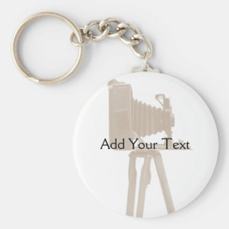 Antique Camera on Sepia Toned Background Key Chain