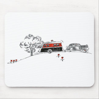 Antique Camper and Car | Camping Vacation Mouse Mat