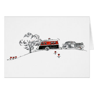 Antique Camper and Car Greeting Card