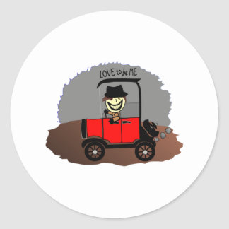ANTIQUE CAR AND GUY - LOVE TO BE ME STICKERS