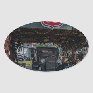 Antique Car and Pump Oval Sticker