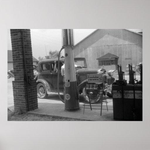 Antique Car and Visible Gas Pump 1940s Print