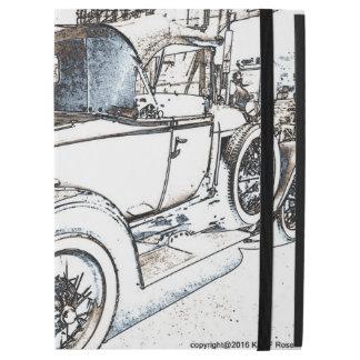 Antique car as a sketch iPad Pro case