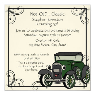 Antique Car Birthday 13 Cm X 13 Cm Square Invitation Card