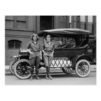 Antique Car Girls, 1920s Post Card