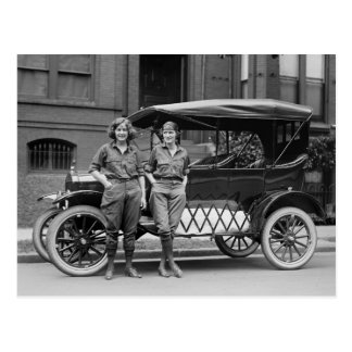 Antique Car Girls, 1920s Postcard