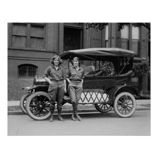 Antique Car Girls, 1920s Poster