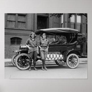Antique Car Girls, 1920s Poster