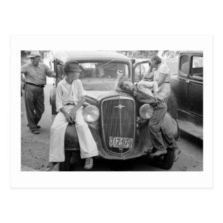 Antique Car, Great Depression Family, 1930s Postcard