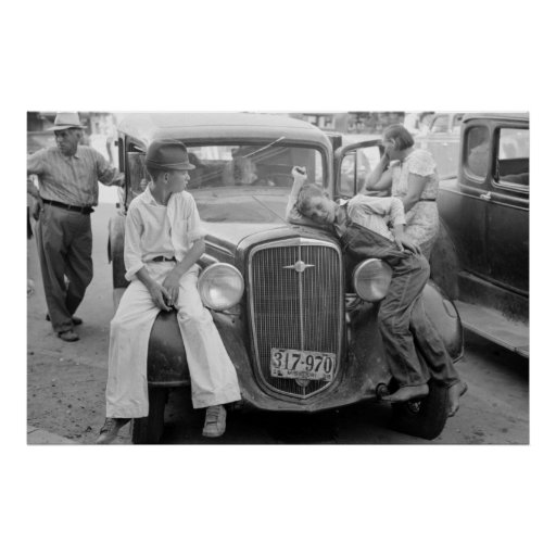 Antique Car, Great Depression Family, 1930s Posters