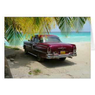 Antique car in Cuba beach Card