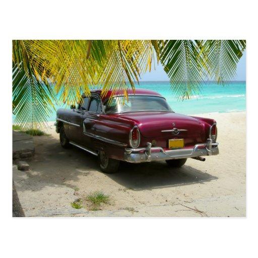 Antique car in Cuba beach Postcards