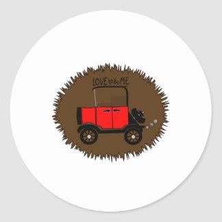 ANTIQUE CAR -- LOVE TO BE ME.png Round Sticker