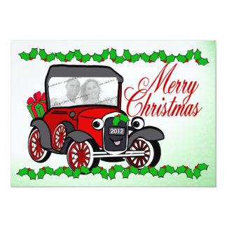 Antique Car Old Fashioned Christmas Flat Card 13 Cm X 18 Cm Invitation Card