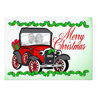Antique Car Old Fashioned Christmas Flat Card Personalized Invitations