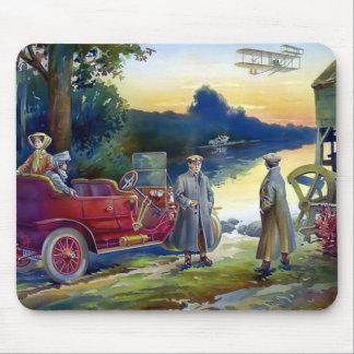Antique Car Plane People nature painting Mouse Pads
