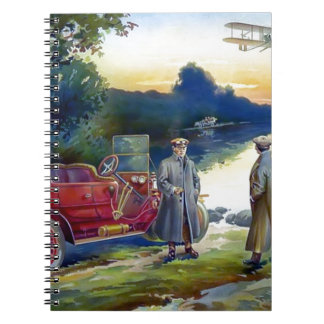 Antique Car Plane People nature painting Spiral Note Book