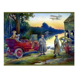 Antique Car Plane People nature painting Postcard