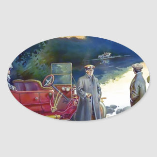 Antique Car Plane People nature painting Stickers