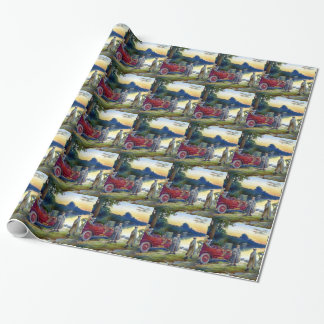 Antique Car Plane People nature painting Wrapping Paper