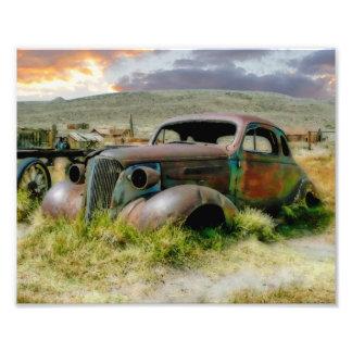 Antique Car Scene Watercolor Photograph