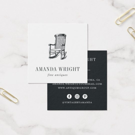 Antique Chair Square Business Card | Brushed Black