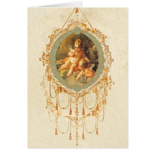 Antique Cherub Ornate Art Design Cards