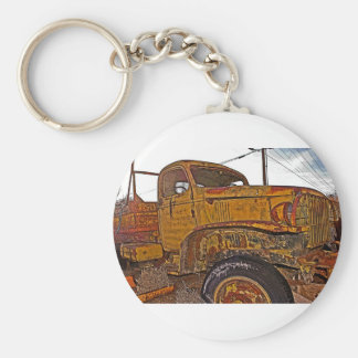 Antique Chevy Truck in Keeler, CA Basic Round Button Key Ring