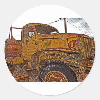 Antique Chevy Truck in Keeler, CA Round Sticker