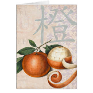 Antique Chinese Oranges Vintage Collage Greeting Card