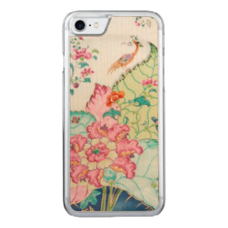 Antique chinoiserie china porcelain bird pattern carved iPhone 8/7 case